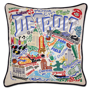Detroit Embroidered Catstudio Pillow-Pillow-CatStudio-Top Notch Gift Shop