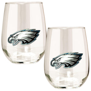 Philadelphia Eagles 15 oz. Stemless Wine Glass - (Set of 2)-Stemless Wine Glass-Great American Products-Top Notch Gift Shop