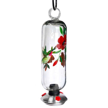 Filigree Handpainted Hummingbird Botanica Hummingbird Feeder - Clear