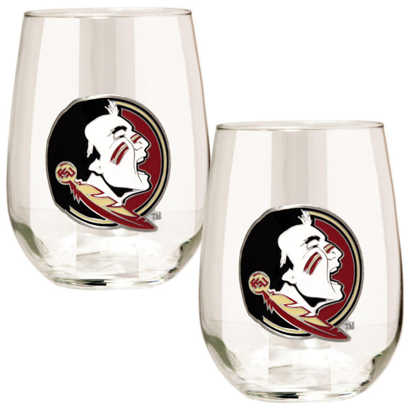 Florida State Seminoles 15 oz. Stemless Wine Glass - (Set of 2)-Stemless Wine Glass-Great American Products-Top Notch Gift Shop