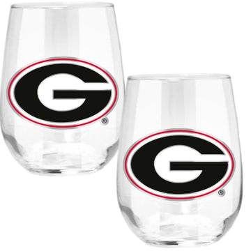 Georgia Bulldogs Stemless Wine Glass - (Set of 2)
