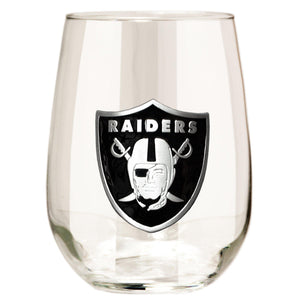 Oakland Raiders 15 oz. Stemless Wine Glass - (Set of 2)-Stemless Wine Glass-Great American Products-Top Notch Gift Shop