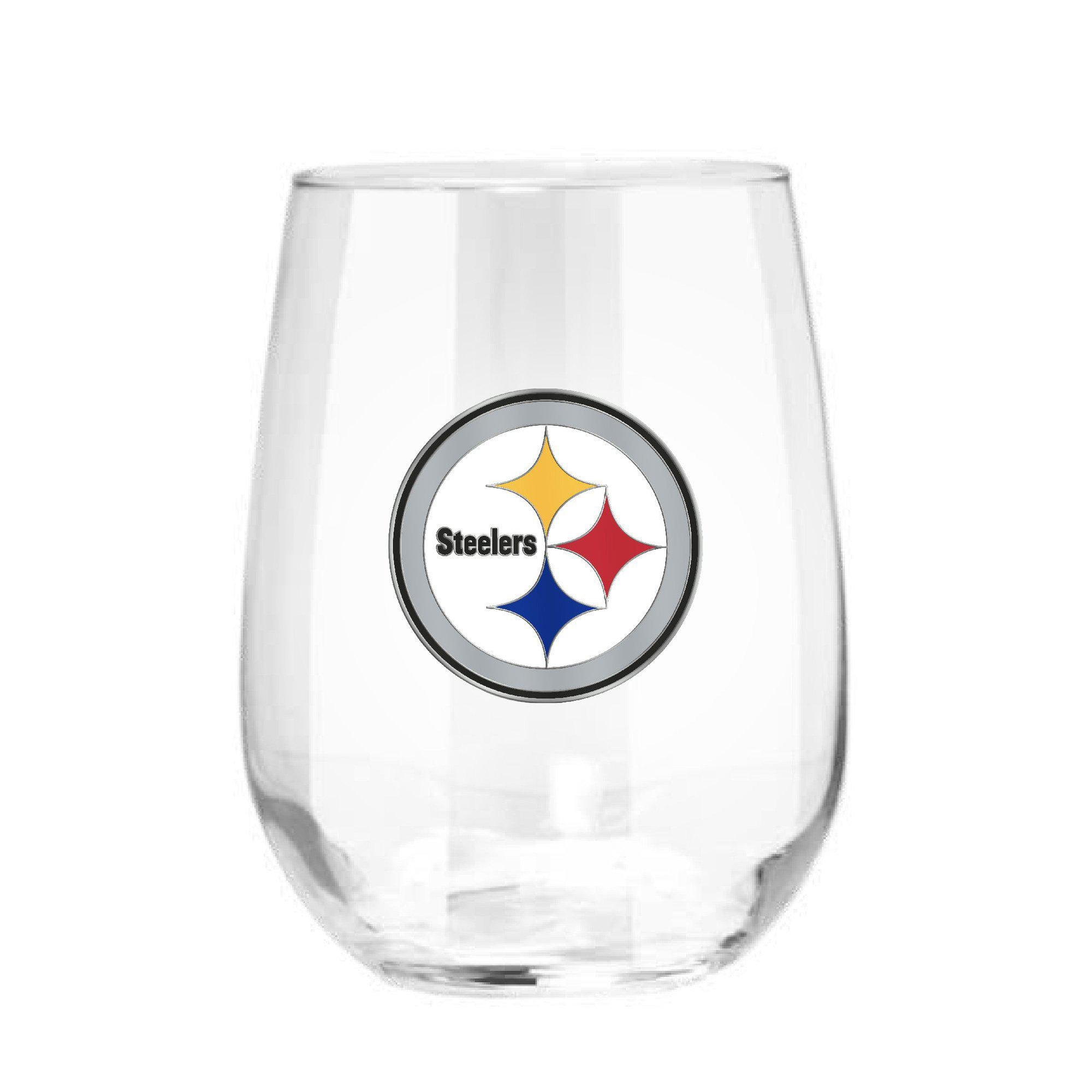 Pittsburgh Steelers 15 oz. Stemless Wine Glass - (Set of 2)-Stemless Wine Glass-Great American Products-Top Notch Gift Shop