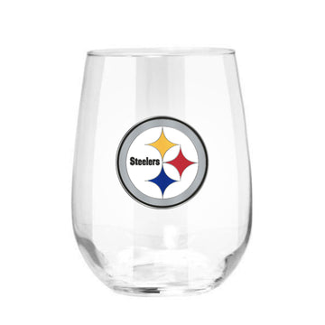 Pittsburgh Steelers 15 oz. Stemless Wine Glass - (Set of 2)