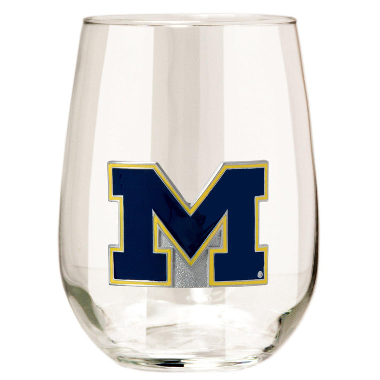 Michigan Wolverines 15 oz. Stemless Wine Glass - (Set of 2)-Great American Products-Top Notch Gift Shop