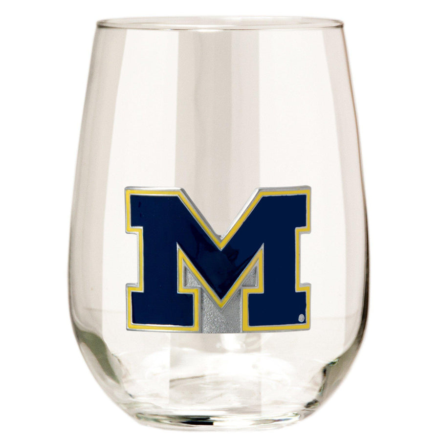 Michigan Wolverines Stemless Wine Glass - (Set of 2)-Stemless Wine Glass-Great American Products-Top Notch Gift Shop