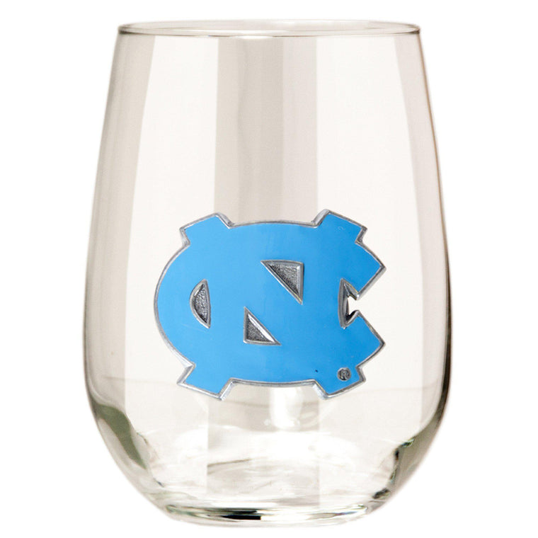 North Carolina Tar Heels 15 oz. Stemless Wine Glass - (Set of 2)-Great American Products-Top Notch Gift Shop