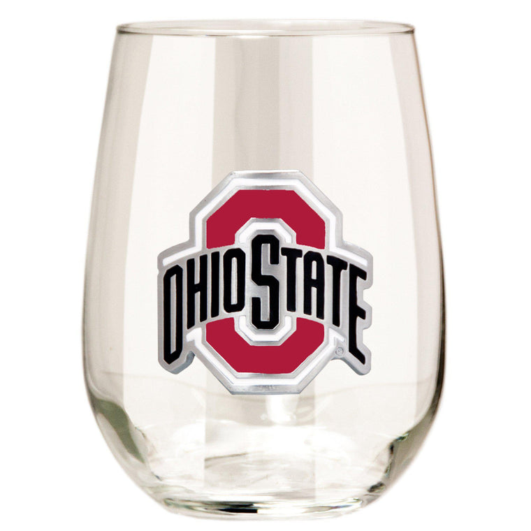 Ohio State Buckeyes 15 oz. Stemless Wine Glass - (Set of 2)-Great American Products-Top Notch Gift Shop