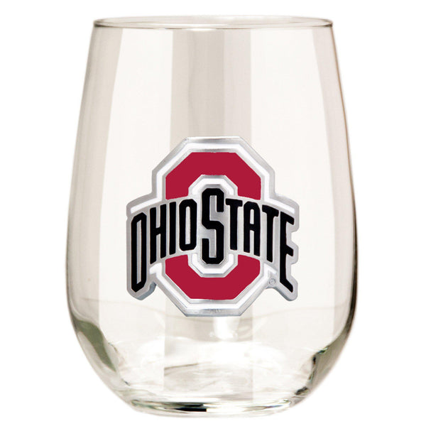 Ohio State Buckeyes 15 oz. Stemless Wine Glass - (Set of 2)-Stemless Wine Glass-Great American Products-Top Notch Gift Shop