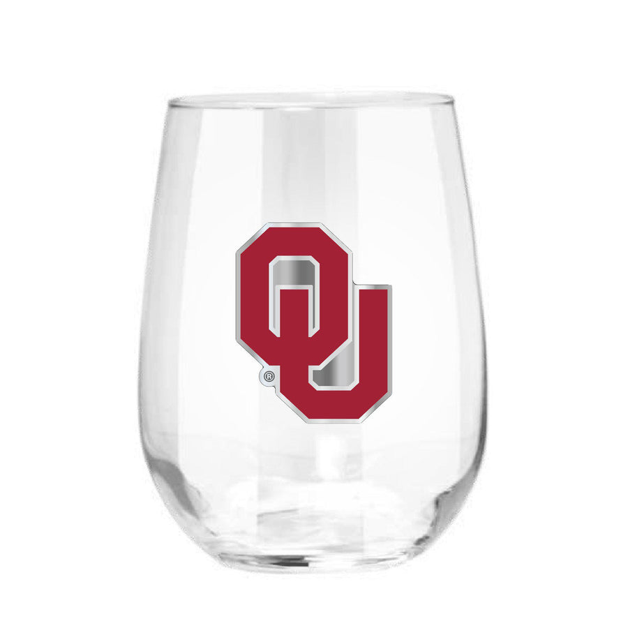Oklahoma Sooners 15 oz. Stemless Wine Glass - (Set of 2)-Stemless Wine Glass-Great American Products-Top Notch Gift Shop