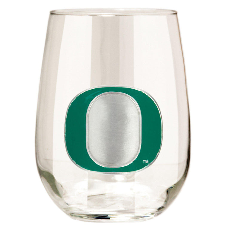 Oregon Ducks 15 oz. Stemless Wine Glass - (Set of 2)-Great American Products-Top Notch Gift Shop