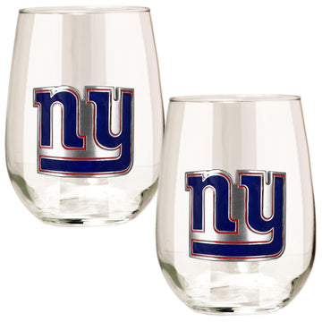 New York Giants 15 oz. Stemless Wine Glass - (Set of 2)