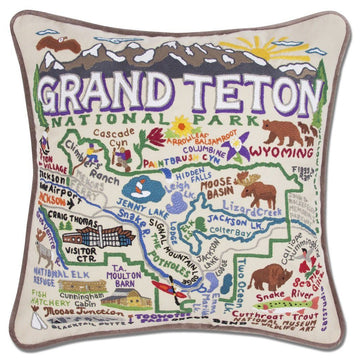 Grand Teton Hand Embroidered Catstudio Pillow