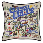 Great Lakes Hand Embroidered Catstudio Pillow-Pillow-CatStudio-Top Notch Gift Shop