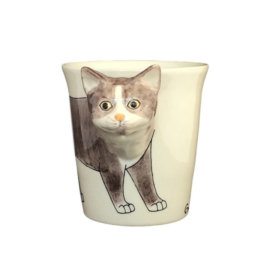 Gray & White Cat Hand Painted Coffee Mug-Mug-Sea Island-Top Notch Gift Shop