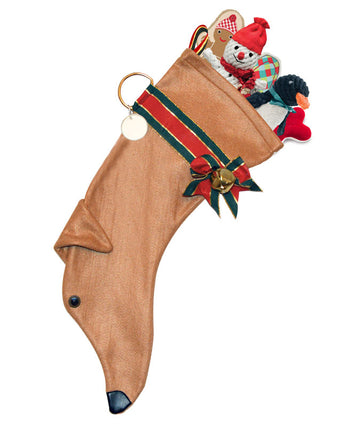 Tan Greyhound Christmas Stocking