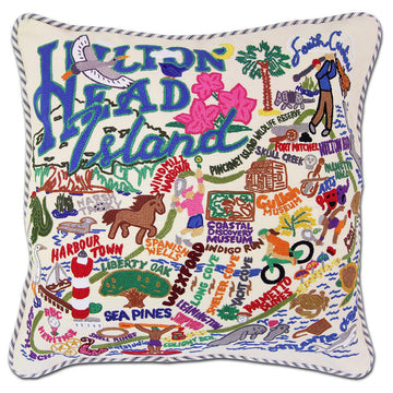 Hilton Head Embroidered Catstudio Pillow