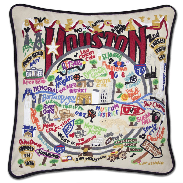 Houston Embroidered Catstudio Pillow-Pillow-CatStudio-Top Notch Gift Shop