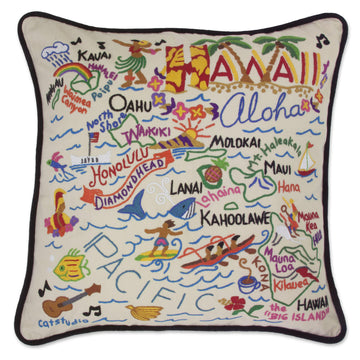 Hawaii State Embroidered Catstudio Pillow