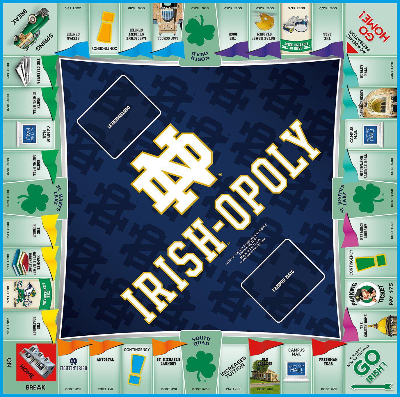 Irish-opoly - Notre Dame Monopoly Board Game-Game-Late For The Sky-Top Notch Gift Shop