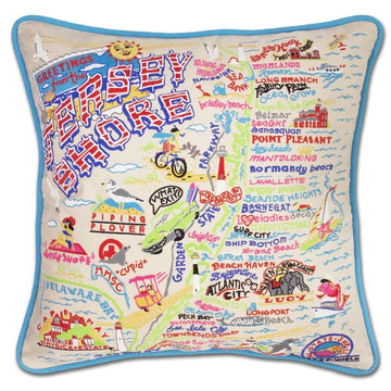 Jersey Shore Hand Embroidered Catstudio Pillow