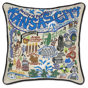 Kansas City Embroidered Catstudio Pillow-Pillow-CatStudio-Top Notch Gift Shop