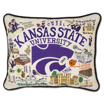 Kansas State University Embroidered Pillow by Catstudio