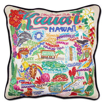 Kauai Hand Embroidered Catstudio Pillow
