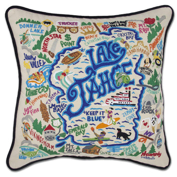 Lake Tahoe Embroidered Catstudio  Pillow