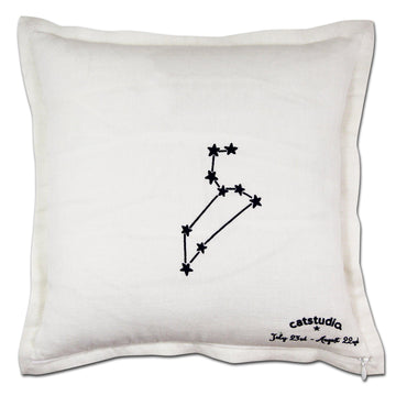 Leo Astrology Hand-Embroidered Pillow