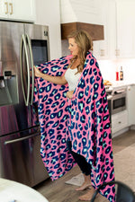 Hot Pink Leopard Plush Blanket - Personalized-Blanket-Viv&Lou-Top Notch Gift Shop