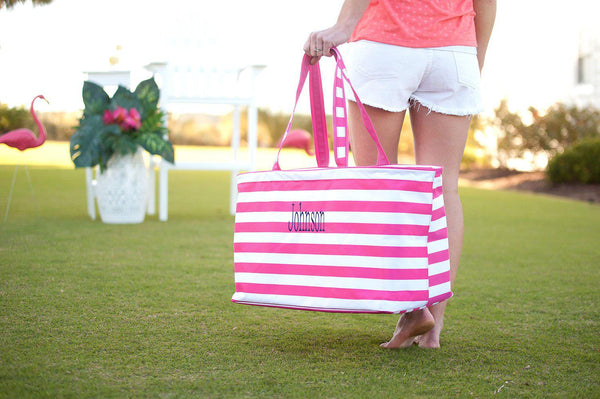 Hot Pink Stripe Ultimate Tote - Personalized-Bag-Viv&Lou-Top Notch Gift Shop