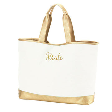 "Creme Cabana Tote - ""BRIDE"" Embroidered In Gold Thread"