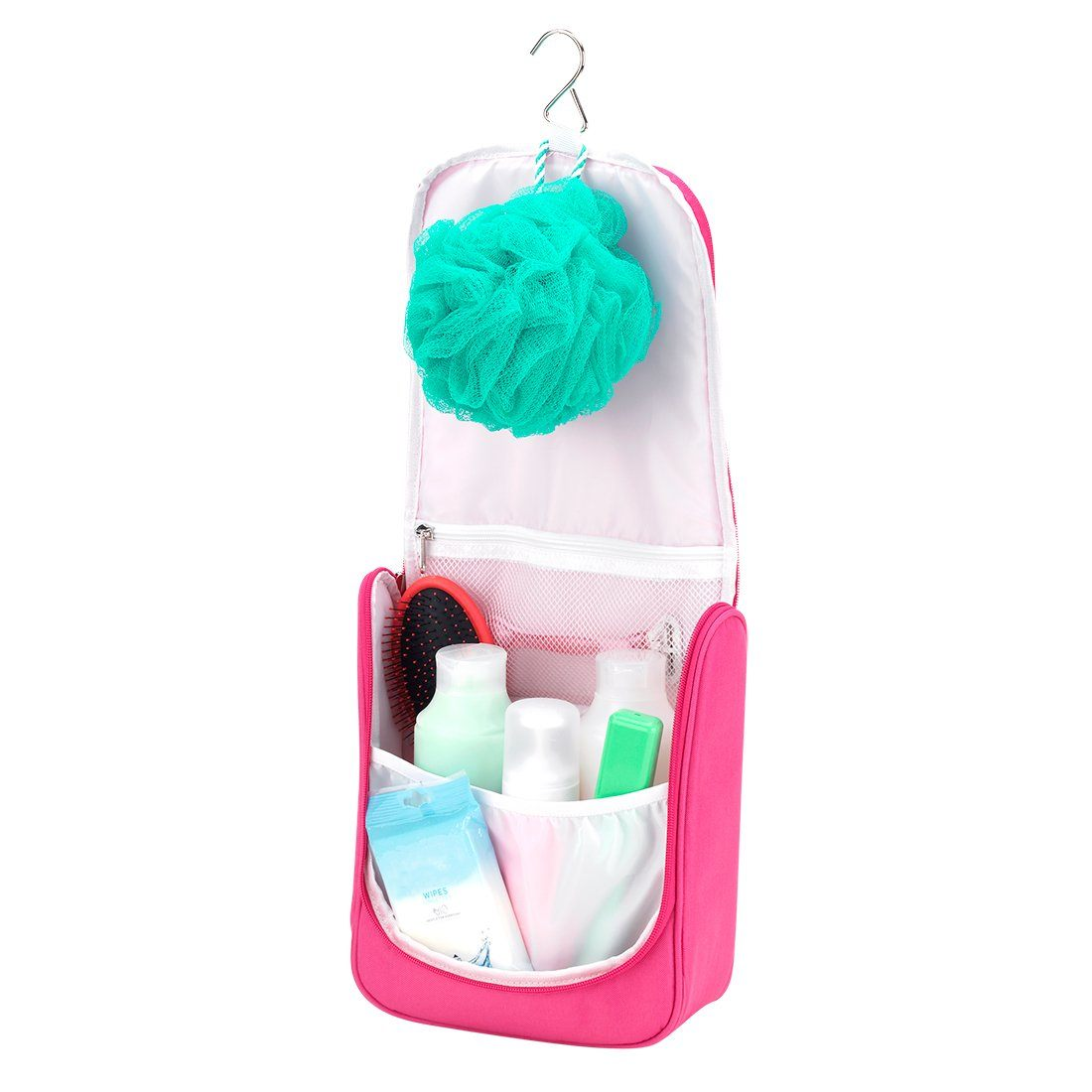 Hot Pink Hanging Travel Case - Personalized-Travel Kit-Viv&Lou-Top Notch Gift Shop