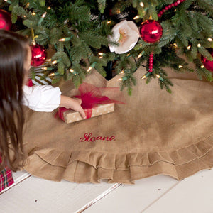 Burlap Ruffle Tree Skirt - Personalized-Tree Skirt-Viv&Lou-Top Notch Gift Shop