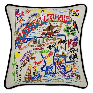 Maryland Embroidered Catstudio State Pillow