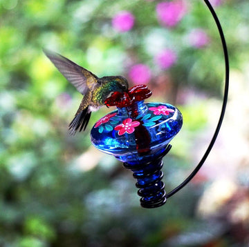 Hand Painted Mini-Blossom Hanging Botanical Hummingbird Feeder - Blue