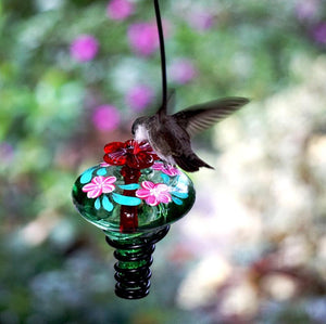 Hand Painted Mini-Blossom Green Glass Hummingbird Feeder-Bird Feeder-Parasol Gardens-Top Notch Gift Shop
