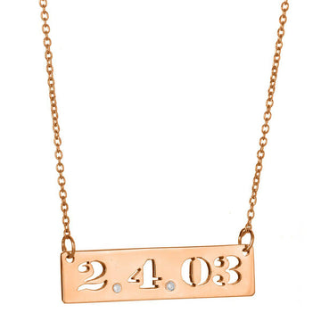 Cut Out Date Bar Necklace - Personalized