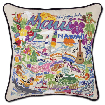 Maui Embroidered Catstudio Pillow