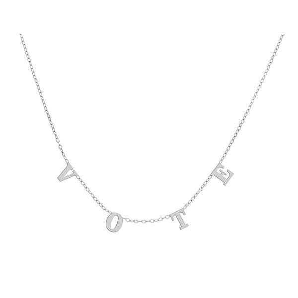 Vote Necklace - White Gold Plated-Necklace-Maya J-Top Notch Gift Shop