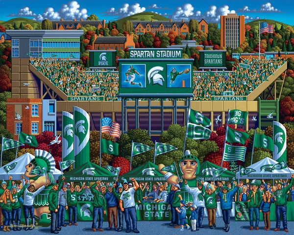 Michigan State Spartans Football 500 Piece Puzzle-Puzzle-Dowdle Folk Art-Top Notch Gift Shop