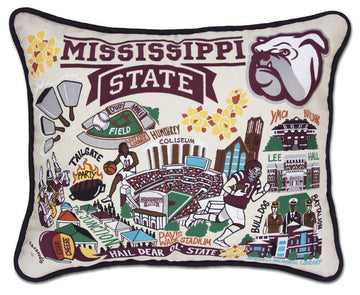 Mississippi State University Embroidered Catstudio Pillow