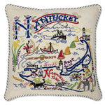 Nantucket Hand Embroidered Catstudio Pillow-Pillow-CatStudio-Top Notch Gift Shop