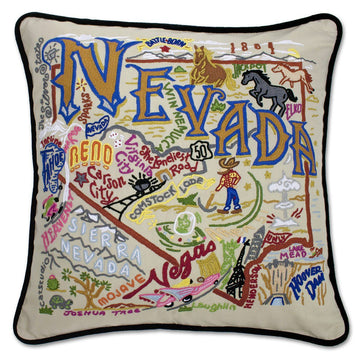 Nevada Embroidered Catstudio State Pillow