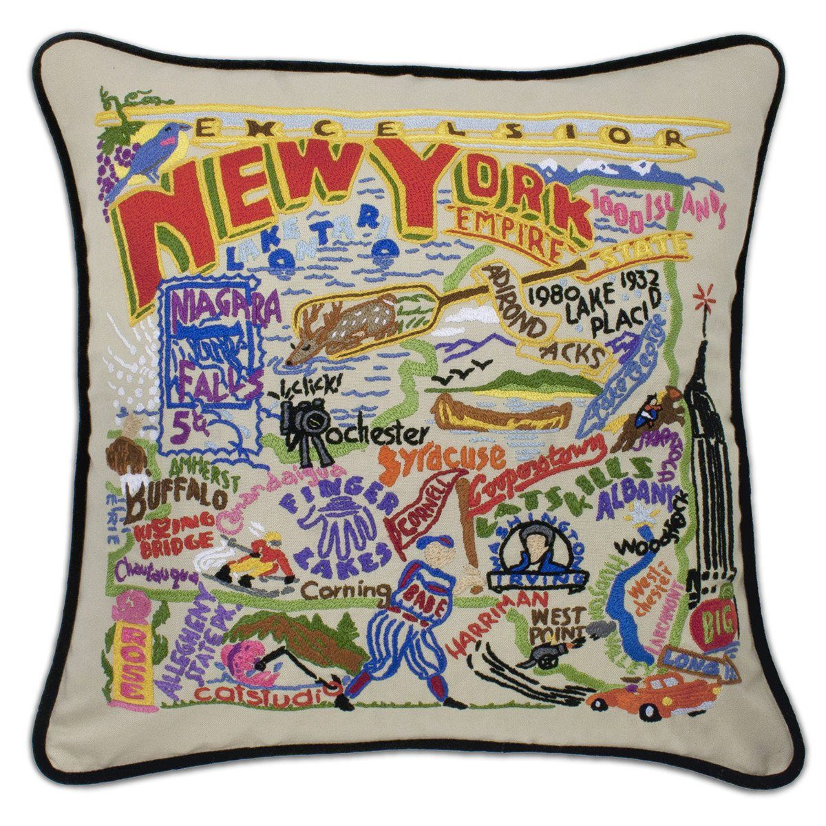 New York Embroidered Catstudio State Pillow-Pillow-CatStudio-Top Notch Gift Shop