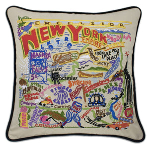 New York State Embroidered CatStudio Pillow-Pillow-CatStudio-Top Notch Gift Shop