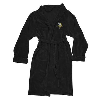 Minnesota Vikings Men's Silk Touch Plush Bath Robe - Black