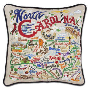 North Carolina State Embroidered CatStudio Pillow-Pillow-CatStudio-Top Notch Gift Shop