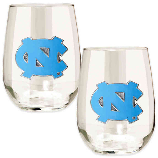 North Carolina Tar Heels 15 oz. Stemless Wine Glass - (Set of 2)-Stemless Wine Glass-Great American Products-Top Notch Gift Shop